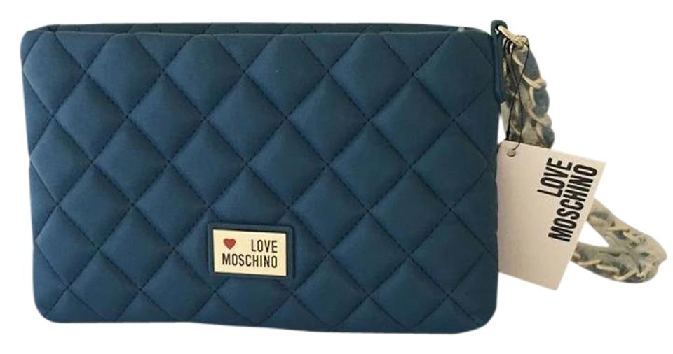 0285a1864357 Love Moschino New with Tags Blue Nappa Leather Clutch - Tradesy