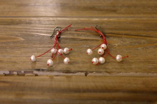 Anthropologie Anthropologie Modern Unique Party Drop Chandler Dangle Silver Red Pink Beads Christmas Earrings