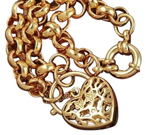 Other 14K Gold Filled Heart Charm Bracelet Chain Link J2486