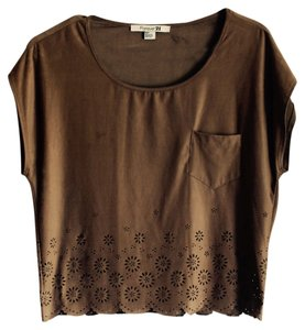Forever 21 Vintage Suede 70's Top Brown