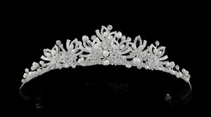 Ivory Pearl And Rhonestone Silver Wedding Tiara