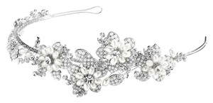 Mariell Silver Soft Cream Pearl and Crystal Botantical Headband 4357hb-sc Hair Accessory