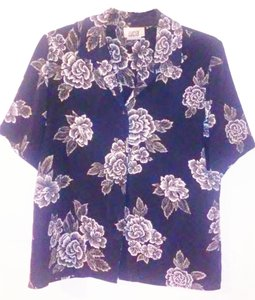 Luciano Dante Floral Pads Buttoned Button Down Shirt Navy White