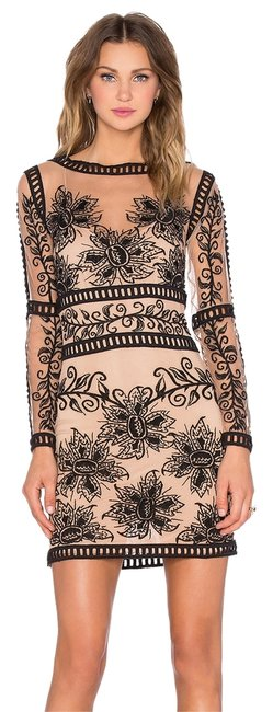 Item - Black Beige And Desert Mini Above Knee Night Out Dress Size 4 (S)
