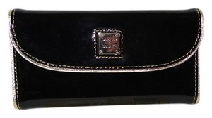 Dooney & Bourke Patent Leather Black & Gold Continental Wallet