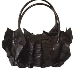 Oscar de la Renta Ruffles Petals Hula Handles Totes Leather Shoulder Bag