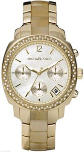 Michael Kors Michael Kors Women's Glitz Gold Tone Stainless Steel Horn Watch