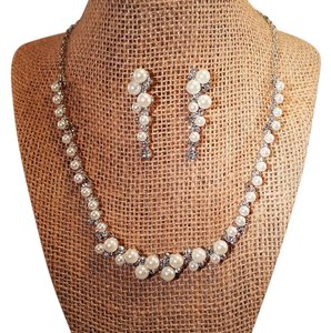 Wedding Brilliant Silver Plated Crystal Rhinestone Faux Pearl Jewelry