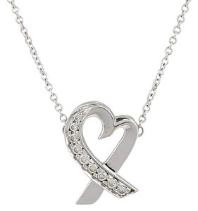 Tiffany & Co. TIFFANY & CO. 18k White Gold and Diamonds Paloma Picasso Loving Heart Necklace