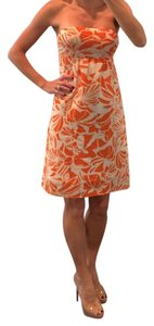 American Eagle Outfitters short dress orange cream white Floral Tropical Strapless Wedding on Tradesy