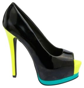 Charlotte Russe Color-blocking Open Toe black Platforms
