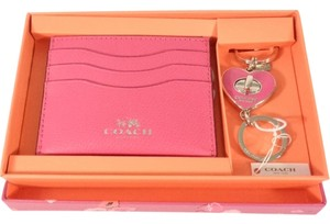 Coach Coach F66088 Women's Pink Card Case/Holder & Heart Key Chain FOB Box Set NEW! $125