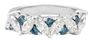 Other 18K Diamond Marquis Band w Blue DIamonds in White Gold
