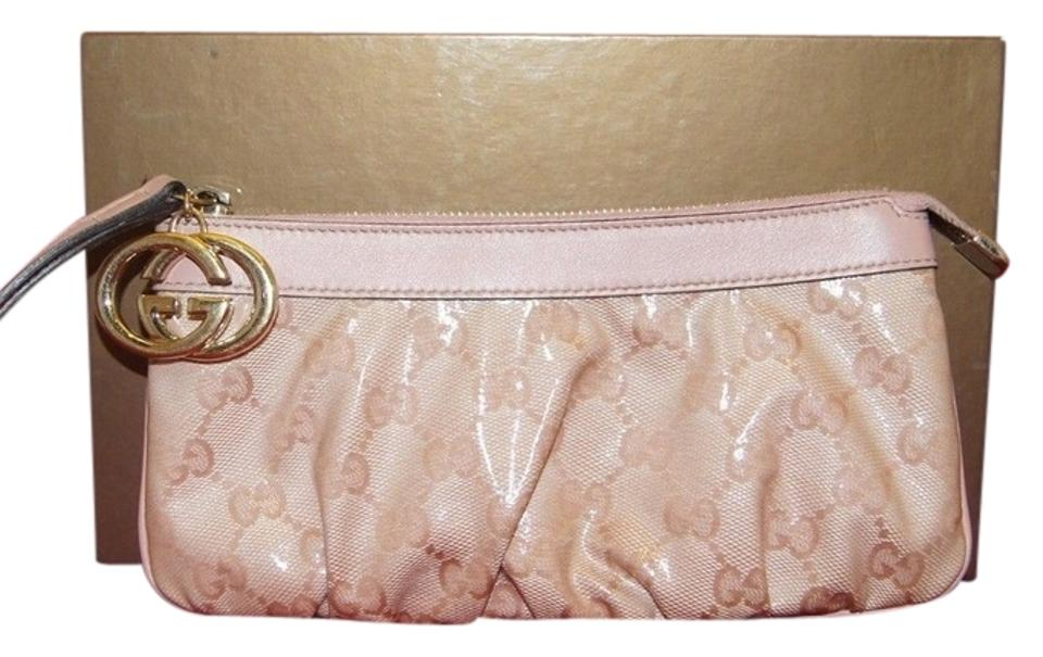 856c0445b94 Gucci Guccissima Leather Interlooking G Gg Wrislet Silver Pink Clutch Image  0 ...