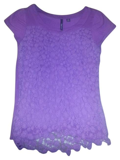 Skye's the Limit Floral Fun Casual T Shirt Purple