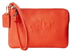 Coach 52500 Embossed Horse L-zip Wristlet in Coral