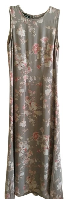 Item - Taupe and Rose Floral Silk Long Casual Maxi Dress Size 6 (S)