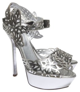 Sergio Rossi Metallic Celebrity Sexy Floral SILVER Sandals