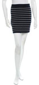 Band of Outsiders Pencil Knit Striped Fitted Mini Skirt Navy