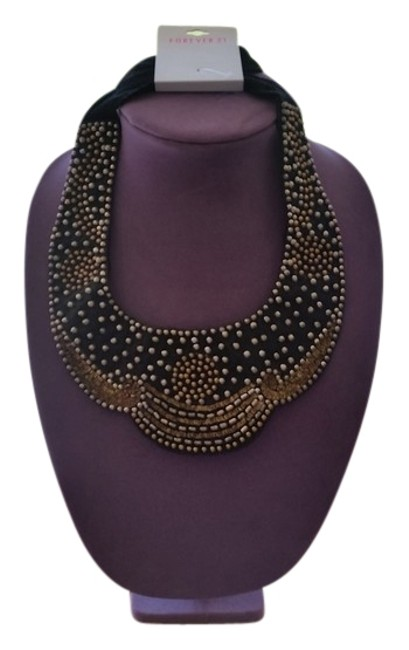 Item - Black and Gold Beaded Bib Necklace