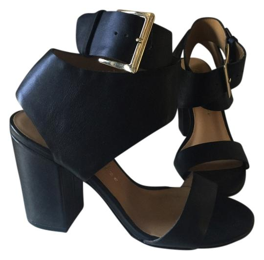 Bettye Muller Wilton Heel 2-piece Leather Black Sandals
