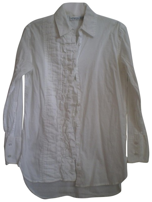 Preload https://item3.tradesy.com/images/newport-news-white-long-sleeved-ruffle-shirt-button-down-top-size-10-m-150642-0-1.jpg?width=400&height=650