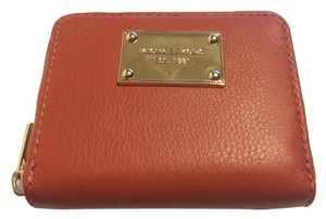 Michael Kors Michael Kors Burnt Orange Leather Zip Around Bifold Wallet
