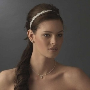 Ivory and Silver Crystals Vintage Ribbon Headband- Free Shipping** Hair Accessory