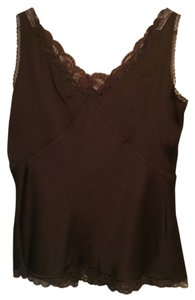 Ann Taylor Brown Lace Trim Top chocolate brown