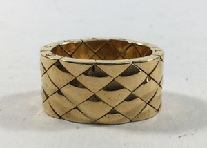Chanel Chanel 18k Yellow Gold Matlesse Quilted Flexible Wide Band Ring