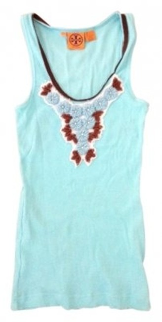 Preload https://img-static.tradesy.com/item/15065/tory-burch-turquoise-blue-cotton-tank-with-a-be-tee-shirt-size-4-s-0-0-650-650.jpg