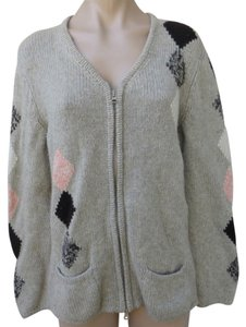 Les Copains Zip Front Cardigan Silk Wool Argyle Size 46 Large Sweater
