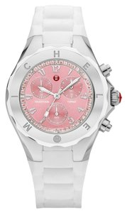 Michele NEW Michele Tahitian Jelly Bean White Silicone Pink Topaz MWW12F000081 Silver Ladies Watch