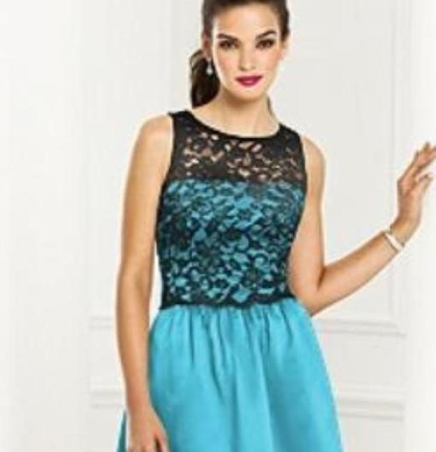 After Six Sleeveless Satin Lace Blue Dress Image 1