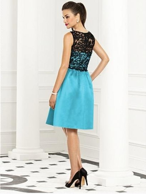 After Six Sleeveless Satin Lace Blue Dress Image 2