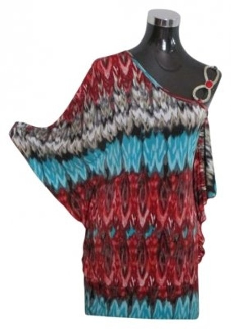 Item - Evening Wear Sexy Casual Turquoise Red Black & Swarovski Crystals Top