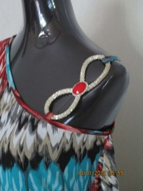 Gold Flava Evening Wear Sexy Casual Top Turquoise, Red, Black & Swarovski Crystals