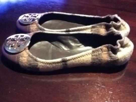 Tory Burch Reva Serene Wool Leather Gold Medallion Brown Plaid Multicolor Flats