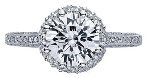 Tacori 2502rdp Halo Pave Platinum Engagement Ring (size: 6.5)