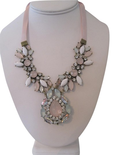 Unknown PASTEL MINT PINK AND CLEAR RHINESTONE STATEMENT RIBBON NECKLACE