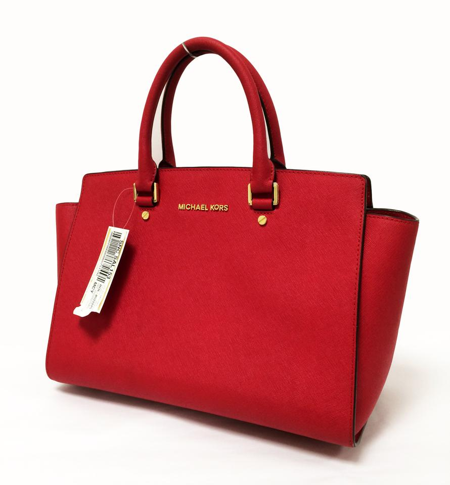 0c4a3f5ad931 MICHAEL Michael Kors Saffiano Leather Large Top Zip Satchel in Chili Red  Image 11. 123456789101112
