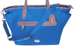 Coach F37758 Canvas Large Tote Blue/Brown Diaper Bag