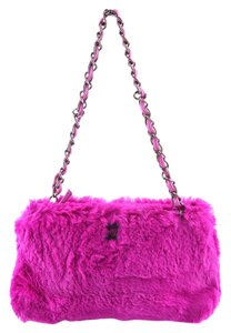 Chanel Vintage Pink Rabbit Fur Shoulder Bag