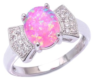 Silver/Pink/White Bogo Free Opal Topaz Bow Tie Fashion Free Shipping Ring