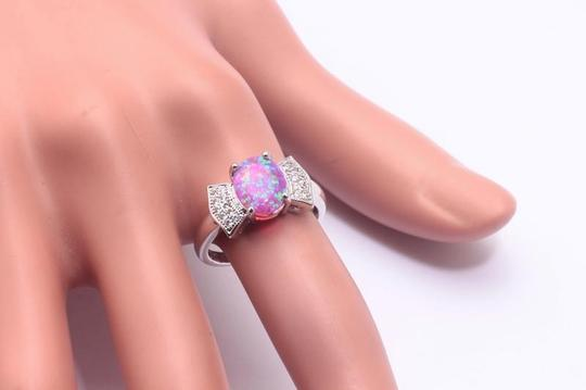 Silver/Pink/White Bogo Free Opal Topaz Bow Tie Fashion Free Shipping Ring Image 2