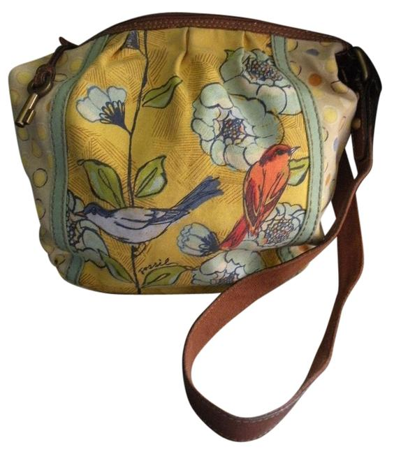 Item - Bird Purse Yellow Multi Canvas Shoulder Bag