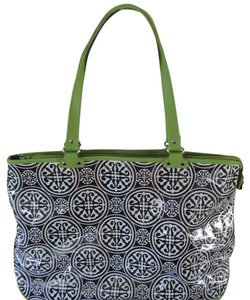 Toss Designs Black, White and Apple Green Travel Bag