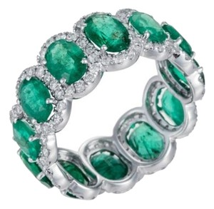 DIANA M. JEWELS Green Emerald and Diamond Eternity Band