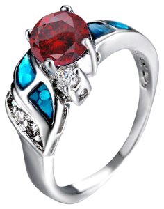 Multi Colored Red White Blue Fire Opal Free Shipping Ring