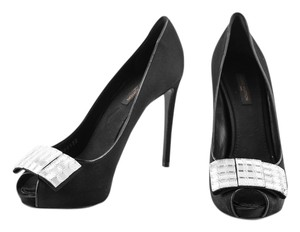 Louis Vuitton Satin/crystal Embellished Peep Toe Black Pumps